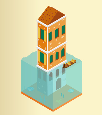 Isometric flooded building and gondola in Venice Illustration