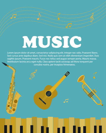 Banner with musical instruments piano, guitar, saxophone Çizim