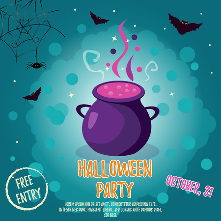 spider web: Halloween backgrounds with bright cauldron and bats. Party Invitation Template Illustration