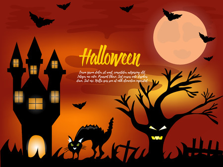 all saints day: Halloween night background with creepy house, scare tree and cat