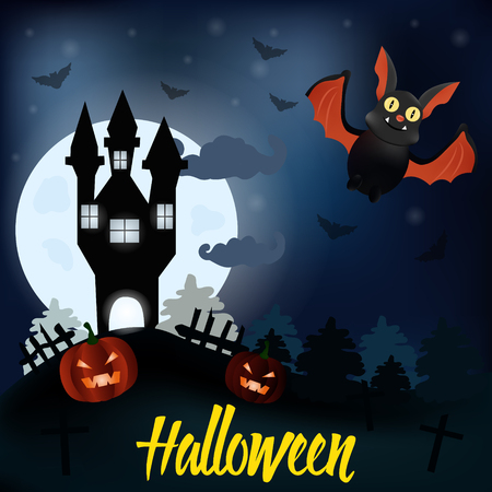 all saints day: Halloween night background with creepy house, pumpkins and bat