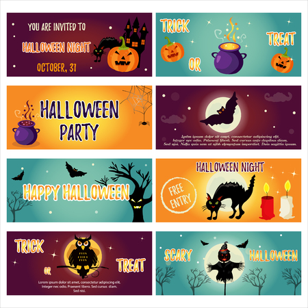 silueta de gato: Set of Halloween banners with Halloween characters