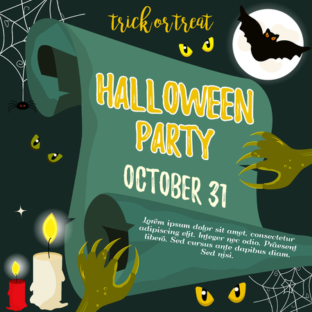 candle: Halloween invitation template with scary creatures and bat.