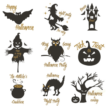silueta de gato: Set of Halloween party concept and design elements. Concept for print, shirt, stamp, badge.