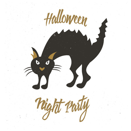 silueta de gato: Halloween holiday badge with evil cat. Perfect for poster or banner Vectores