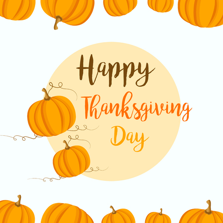 celebrate: Thanksgiving background with yellow pumpkins. Can be used as invitation, postcard, retail template, offer Illustration