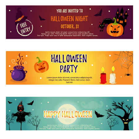 silueta de gato: Set of Halloween banners with Halloween holiday characters