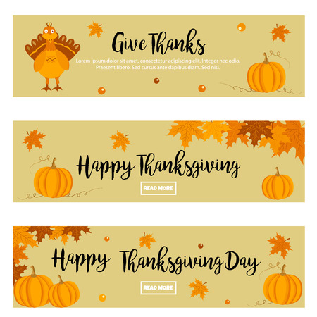 celebrate: Set of Thanksgiving autumn, fall banners with turkey, foliage and pumpkins