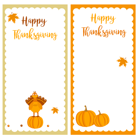 celebrate: Set of Thanksgiving autumn, fall banners with turkey, leaves and pumpkins