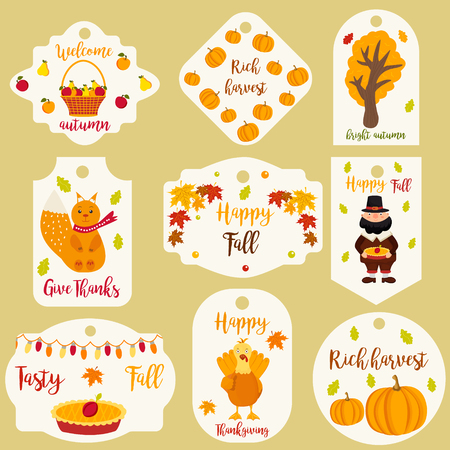 celebrate: Bundle of autumn labels and tags and with different characters