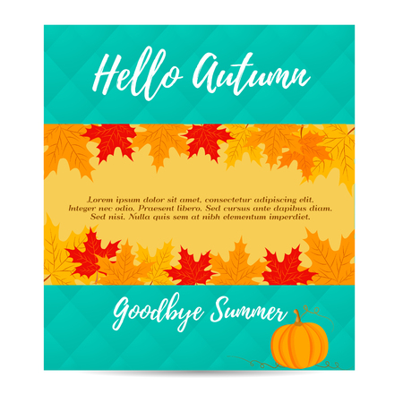 celebrate: Thanksgiving autumn, fall background with pumpkin and foliage Illustration