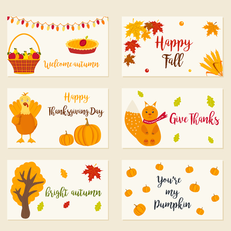 celebrate: Collection of autumn cards with different characters