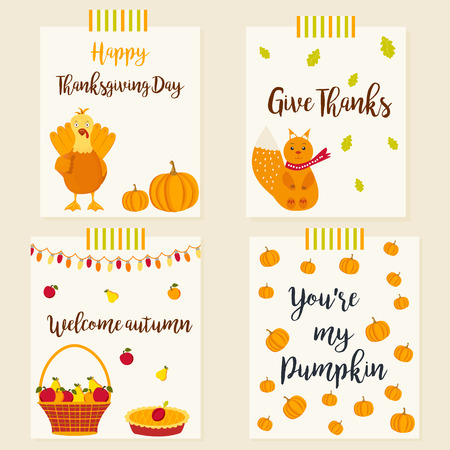 celebrate: Set of autumn postcards with different elements and characters