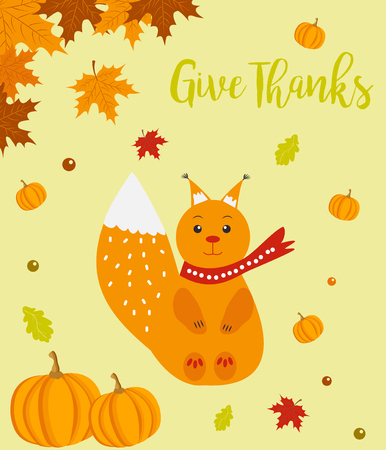 celebrate: Autumn background with cute squirrel and pumpkins and Give Thanks text Illustration