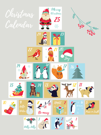Christmas advent calendar. Winter holidays poster with cute animals and symbols.