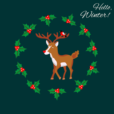 Hello Winter design template with cute funny deer.
