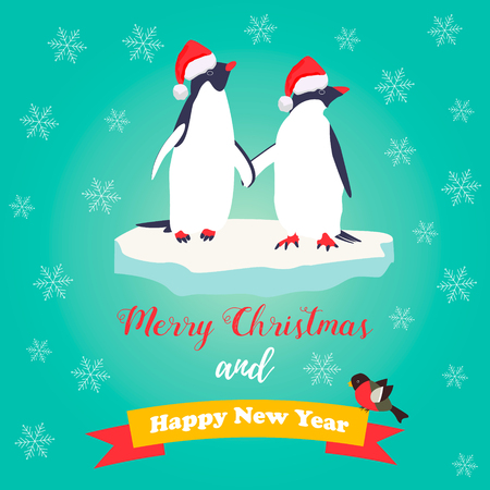 Christmas and New Year greeting card with cute penguins