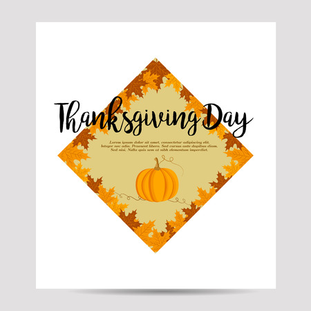 Thanksgiving autumn, fall background with foliage and pumpkin
