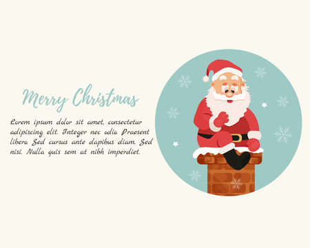 Holiday background with Santa going down to chimney