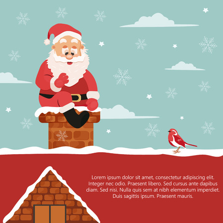 Holiday background with Santa going down to chimney. Illustration