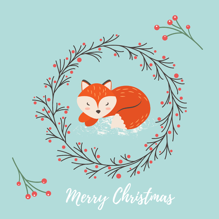postcard background: Holiday greeting card with cute dreaming fox. Illustration