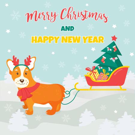 Holiday greeting card with cute corgi dog.