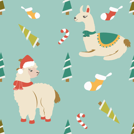 Holiday pattern with cute lamas and elements. Illustration