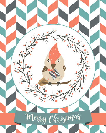 Holiday vintage decorative banner with a cute bird. Stock Illustratie