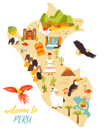 Tourist map of Peru with different landmarks. Vectores