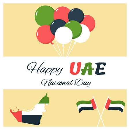 UAE Independence Day background in national flag color theme with balloons.