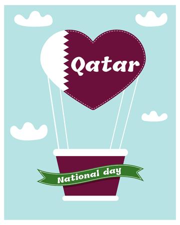 18 December. Qatar National Day card Illustration