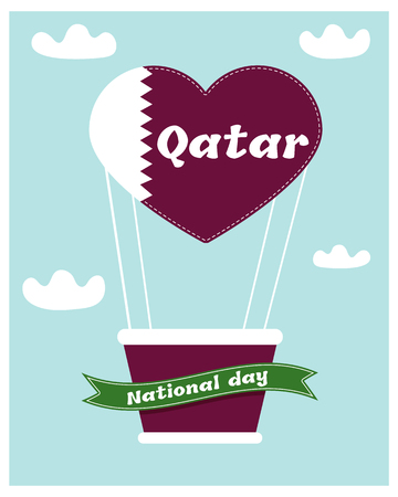 18 December. Qatar National Day card Illustration