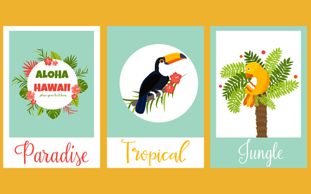 Set of tropical cards with birds and exotic elements. Illustration