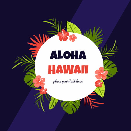 Bright card with Aloha Hawaii design with exotic flowers on a dark background
