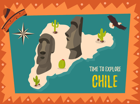 Tourist poster Welcome to Chile with statues of Easter island Stock Vector - 91046123