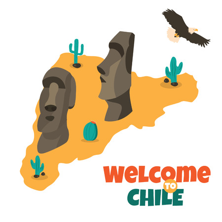 Tourist poster Welcome to Chile with statues of Easter island Stock Vector - 91046126