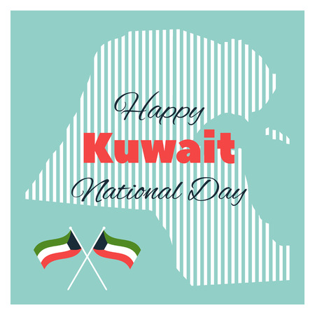 Greeting card with elements for Kuwait National Day