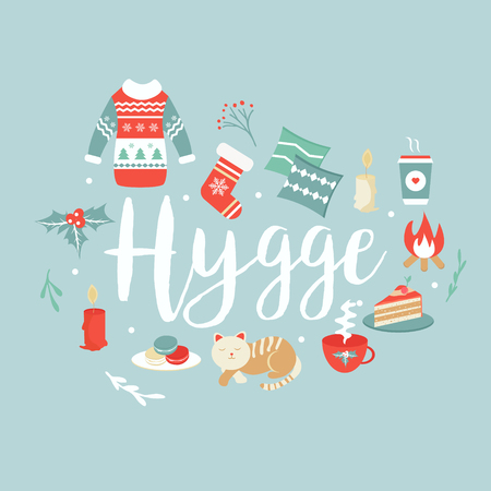 Hygge background with cozy things and elements.