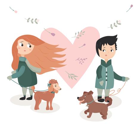 Illustration eines Jungen und des Mädchens, die sich auf den ersten Blick verlieben.