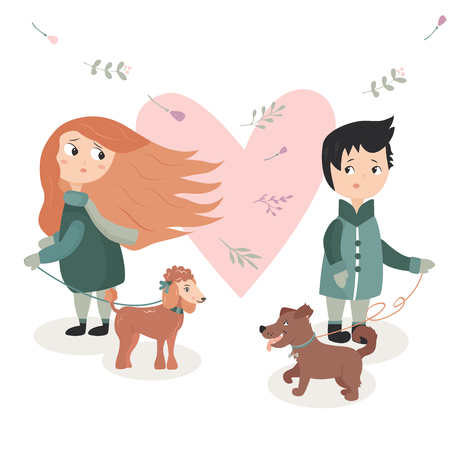 Illustration of a boy and girl who fall in love at first glance. Vectores