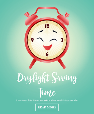 Background for Daylight Saving Time with alarm clock
