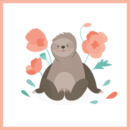 Cute sloth sitting in pink flowers. Ilustração
