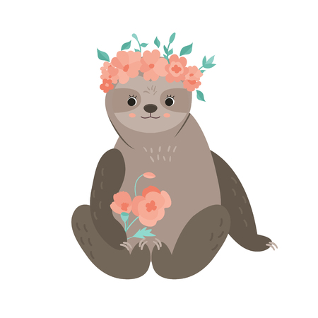 Cute girl sloth with bouquet in a flower wreath