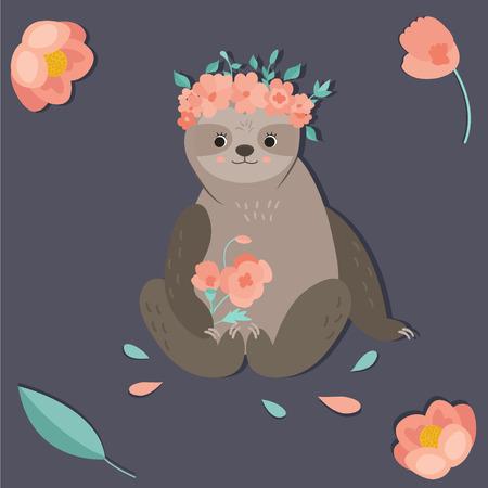 Cute girl sloth with a flower wreath. Ilustração