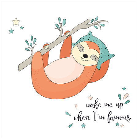 Funny sleepy sloth hanging on the branch. Vectores