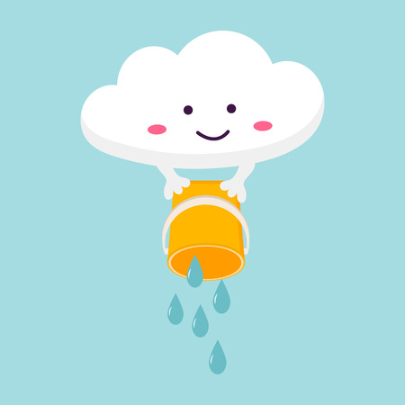 Illustration of funny cloud with bucket of rain Stock Illustratie