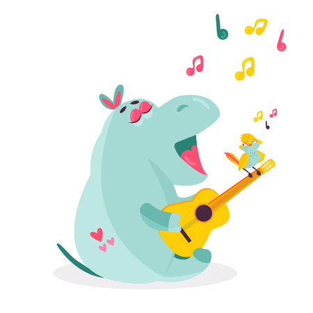 Vector image of a funny hippo playing ukulele