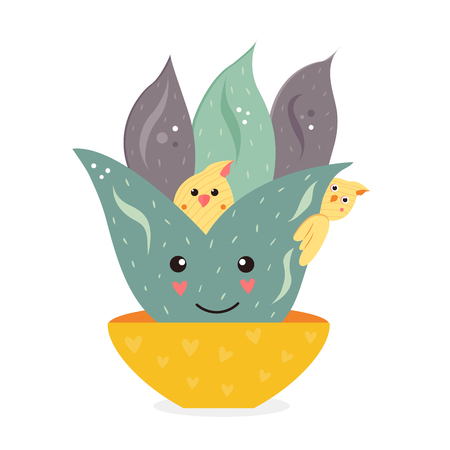 Vector illustration of cute cactus with birds hiding in it