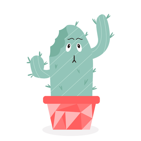 Vector illustration of cute cactus with a bite taken out of it