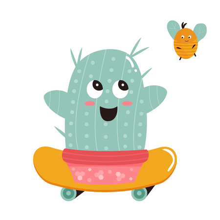 Vector illustration of cute cactus on skateboard and bumblebee